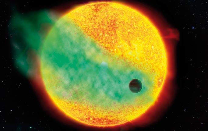 Illustration av hur planeten HD 209458b passerar framför sin stjärna med väteatomer som strömmar ut som en kometsvans.  Bild: Jörgen Medman, KRAUZ & Co, NASA (JPL-Caltech, STEREO, STScl.) I